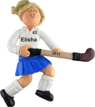 Field Hockey Female Blonde Hair Christmas Ornament Personalized by Russell Rhodes