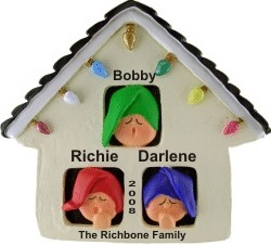 Christmas House for 3 Personalized Christmas Ornament