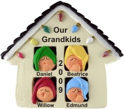 4 Grandkids Sleepy Christmas Morning Personalized Christmas Ornament