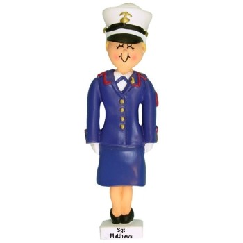 Blonde Female Dress Blue Marine Christmas Ornament Personalized by Russell Rhodes