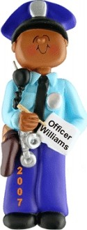 Police African American Male Christmas Ornament