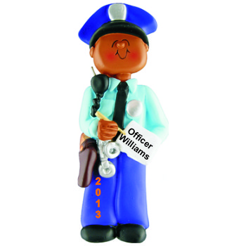 African American Male Police Academy Graduation Christmas Ornament Personalized by Russell Rhodes