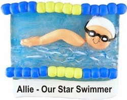 Swimmer - One More Lap to Go! Personalized Christmas Ornament