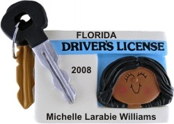 New Driver Female African American Christmas Ornament Personalized by Russell Rhodes