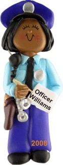 Police African American Female Personalized Christmas Ornament