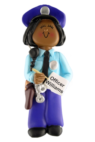 Police Woman Christmas Ornament African American by Russell Rhodes