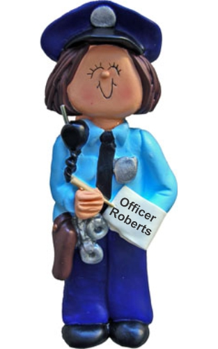 Police Woman Christmas Ornament Brown Hair by Russell Rhodes