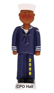 Navy African American Personalized Christmas Ornament
