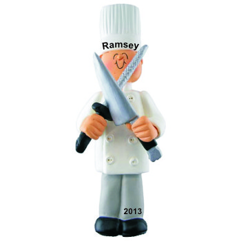 Chef Male Personalized Christmas Ornament
