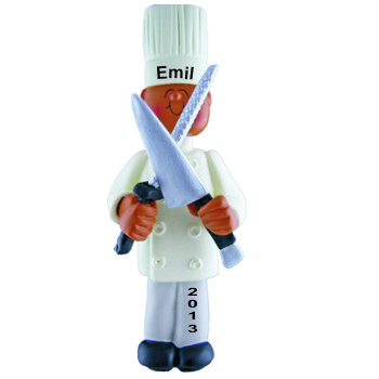 Chef African American Male Personalized Christmas Ornament