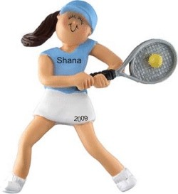 Tennis in Action Female Brown Hair Christmas Ornament Personalized by Russell Rhodes