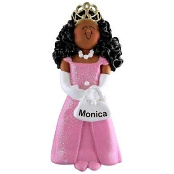 African-American Princess Personalized Christmas Ornament Personalized by Russell Rhodes