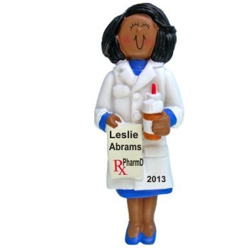 African American Female Pharmacy School Graduate Christmas Ornament