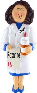 Pharmacist Female Brown Hair Personalized Christmas Ornament