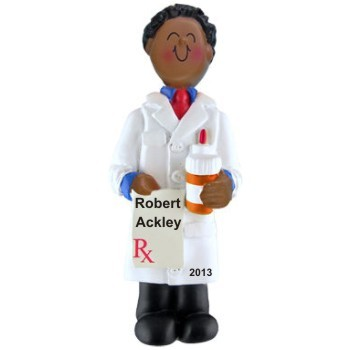 African American Male Pharmacist Personalized Christmas Ornament