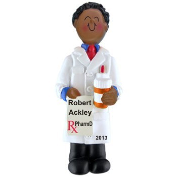 African American Male Pharmacy School Graduate Christmas Ornament