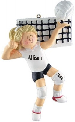 Volleyball Star! Female Blonde Hair Personalized Christmas Ornament