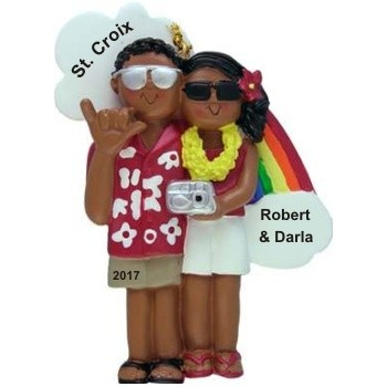 Vacationing African American Couple Christmas Ornament Personalized by Russell Rhodes