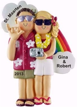 Vacation Couple, Male Brown Hair, Female Blonde Personalized Christmas Ornament