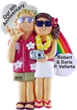 Anniversary Couple, Male Blonde, Female Brown Hair Christmas Ornament