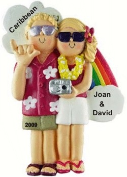 Honeymoon Couple Ornament Both Blonde Hair Personalized Christmas Ornament