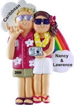 Honeymoon Couple Male Blonde Female Brown Christmas Ornament Personalized by Russell Rhodes