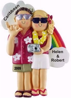 Honeymoon Couple Male Brown Female Blonde Personalized Christmas Ornament