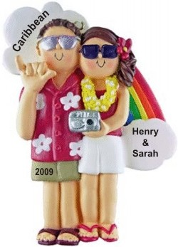 Honeymoon Couple Ornament Both Brown Hair Personalized Christmas Ornament