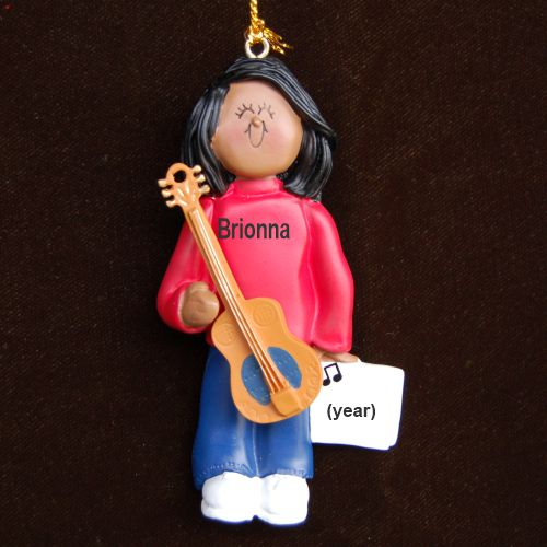 Acoustic Guitar Virtuoso, African American Female Personalized Christmas Ornament