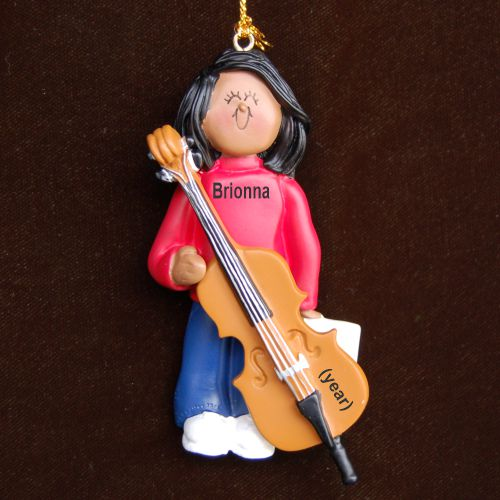 Cello Virtuoso, African American Female Personalized Christmas Ornament