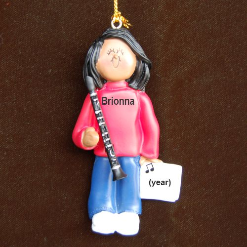 Clarinet Virtuoso, African American Female Personalized Christmas Ornament