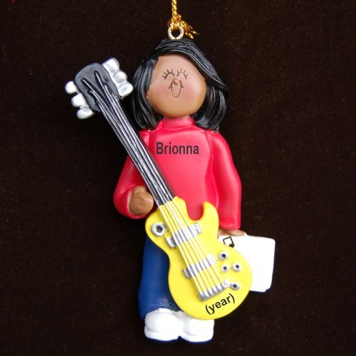 Guitar Electric Virtuoso, African American Female Christmas Ornament