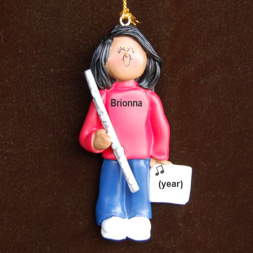 Flute Virtuoso, African American Female Christmas Ornament