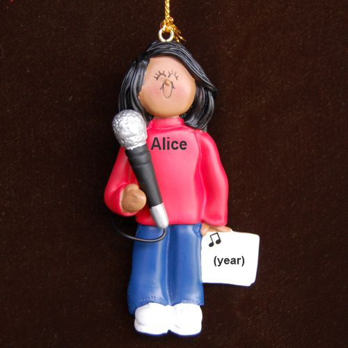 Star Singer African American Female Personalized Christmas Ornament