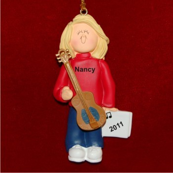 Acoustic Guitar Virtuoso, Female Blonde Personalized Christmas Ornament