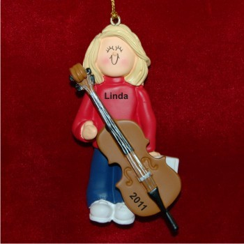 Cello Virtuoso, Female Blonde Hair Personalized Christmas Ornament