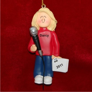 Star Singer Female Blonde Hair Personalized Christmas Ornament
