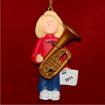 Tuba Virtuoso, Female Blonde Hair Personalized Christmas Ornament Personalized by Russell Rhodes