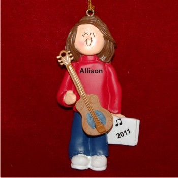 Acoustic Guitar Virtuoso, Female Brown Hair Personalized Christmas Ornament Personalized by Russell Rhodes