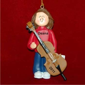 Cello Virtuoso, Female Brown Hair Christmas Ornament