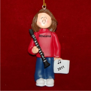 Clarinet Virtuoso, Female Brown Hair Christmas Ornament