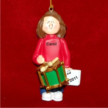 Drums Virtuoso, Female Brown Hair Christmas Ornament