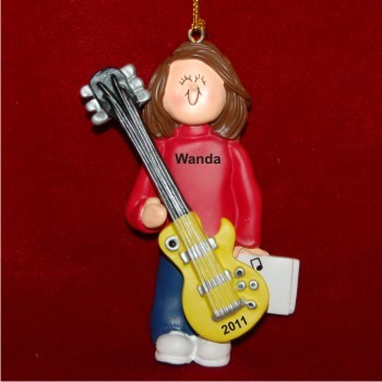 Guitar Virtuoso, Female Brown Hair Christmas Ornament