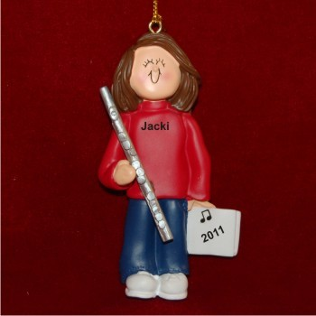 Flute Virtuoso, Female Brown Hair Personalized Christmas Ornament