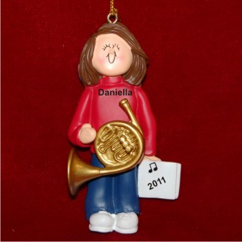 French Horn Virtuoso, Female Brown Hair Personalized Christmas Ornament