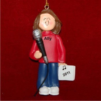 Star Singer Female Brown Hair Christmas Ornament Personalized by Russell Rhodes