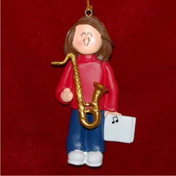 Saxophone Virtuoso, Female Brown Hair Personalized Christmas Ornament