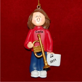 Trumpet Virtuoso, Female Brown Hair Christmas Ornament Personalized by Russell Rhodes