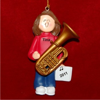 Tuba Virtuoso, Female Brown Hair Christmas Ornament Personalized by Russell Rhodes