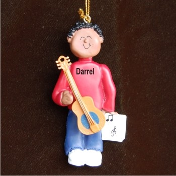 Acoustic Guitar Virtuoso, African American Male Christmas Ornament
